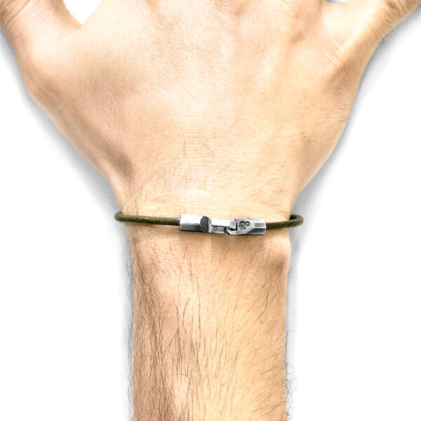 Racing Green Talbot Silver and Round Leather Bracelet