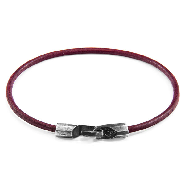 Bordeaux Red Talbot Silver and Round Leather Bracelet