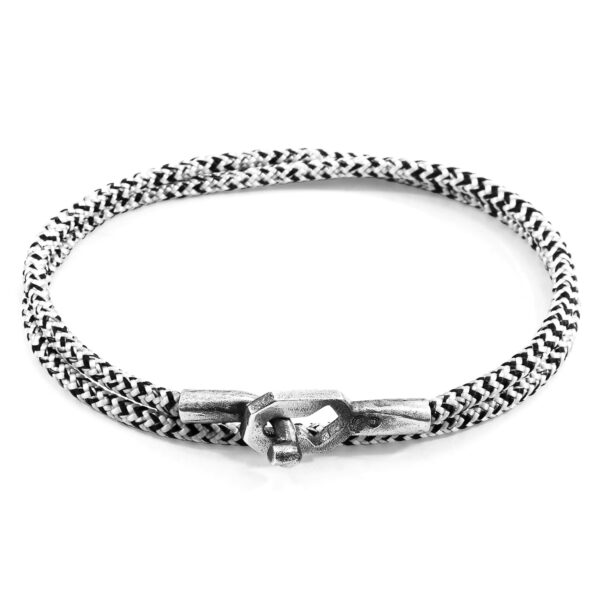 White Noir Tenby Silver and Rope Bracelet