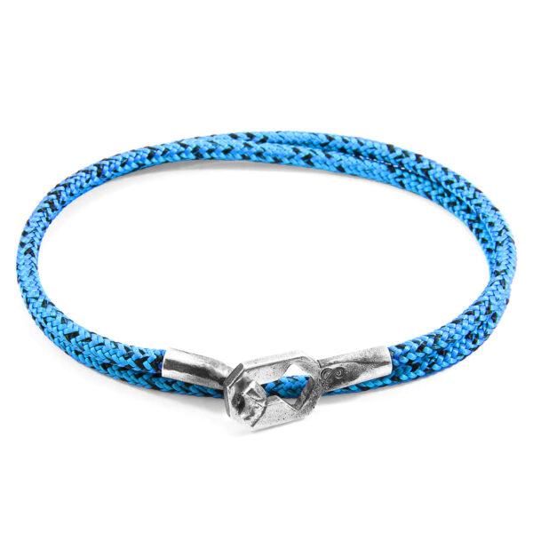 Blue Noir Tenby Silver and Rope Bracelet
