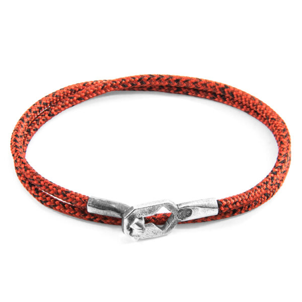 Red Noir Tenby Silver and Rope Bracelet