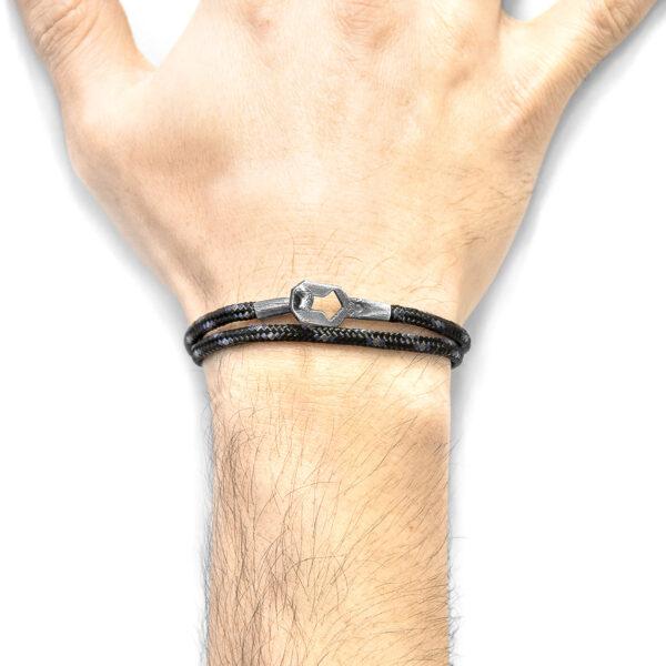 Black Tenby Silver and Rope Bracelet