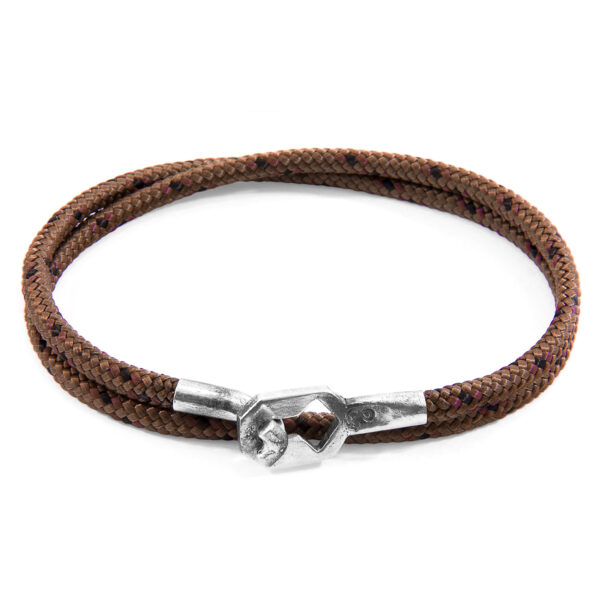 Brown Tenby Silver and Rope Bracelet