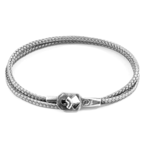 Classic Grey Tenby Silver and Rope Bracelet