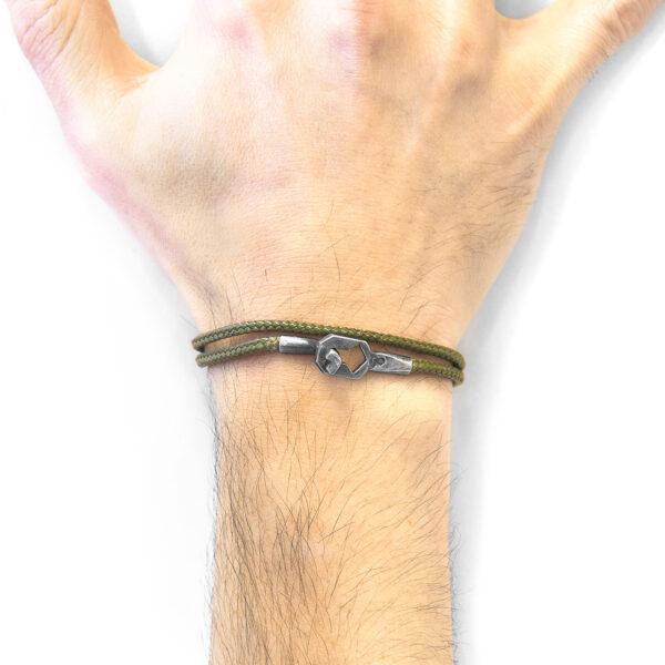 Khaki Green Tenby Silver and Rope Bracelet