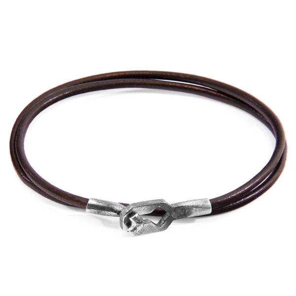 Mocha Brown Tenby Silver and Round Leather Bracelet