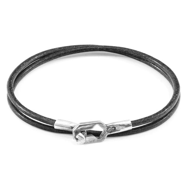 Shadow Grey Tenby Silver and Round Leather Bracelet