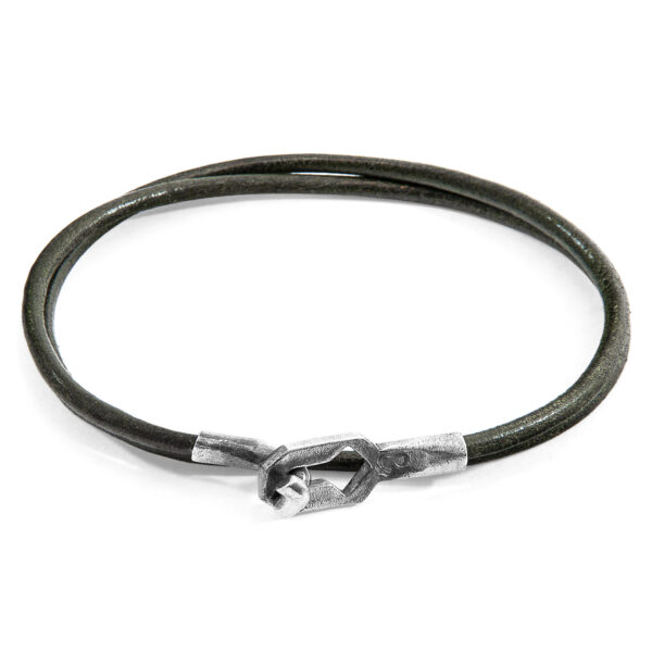 Racing Green Tenby Silver and Round Leather Bracelet