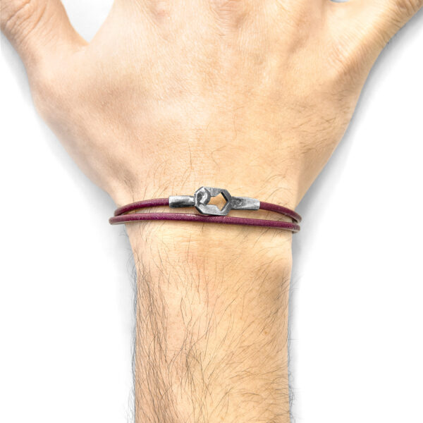 Bordeaux Red Tenby Silver and Round Leather Bracelet