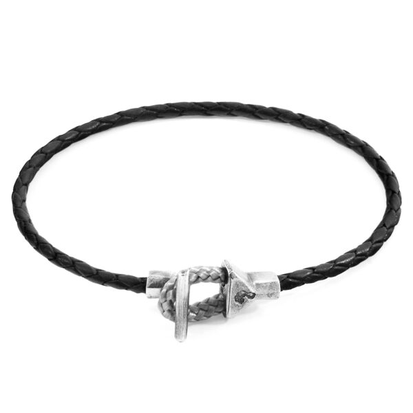 Coal Black Cullen Silver and Braided Leather Bracelet