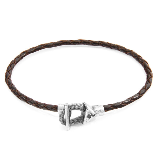 Dark Brown Cullen Silver and Braided Leather Bracelet
