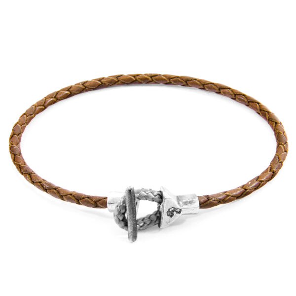Light Brown Cullen Silver and Braided Leather Bracelet