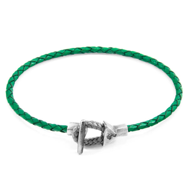 Fern Green Cullen Silver and Braided Leather Bracelet