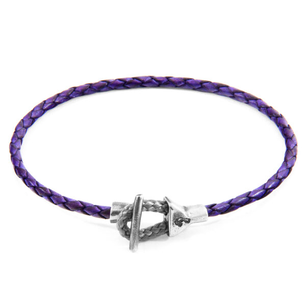 Grape Purple Cullen Silver and Braided Leather Bracelet