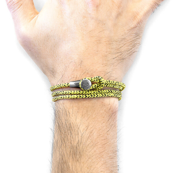 Yellow Noir Dundee Silver and Rope Bracelet