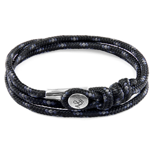 Black Dundee Silver and Rope Bracelet