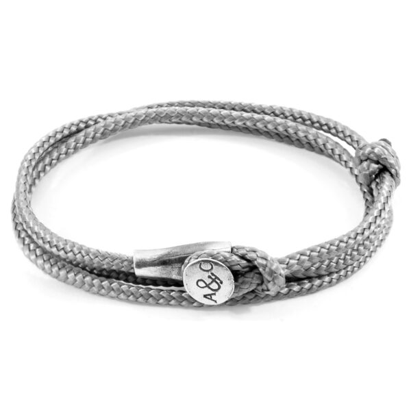 Classic Grey Dundee Silver and Rope Bracelet