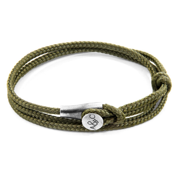 Khaki Green Dundee Silver and Rope Bracelet