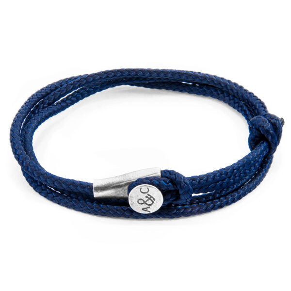Navy Blue Dundee Silver and Rope Bracelet