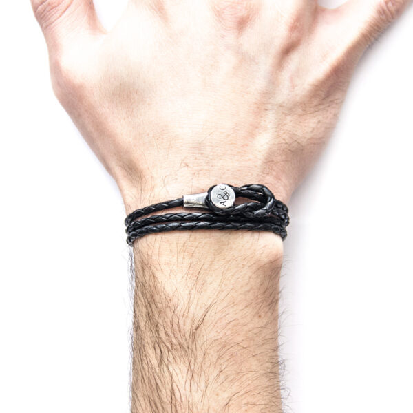 Coal Black Dundee Silver and Braided Leather Bracelet