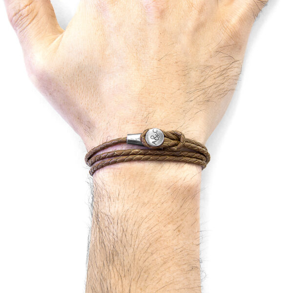 Light Brown Dundee Silver and Braided Leather Bracelet