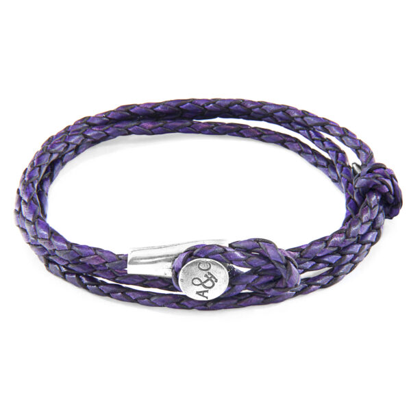 Grape Purple Dundee Silver and Braided Leather Bracelet