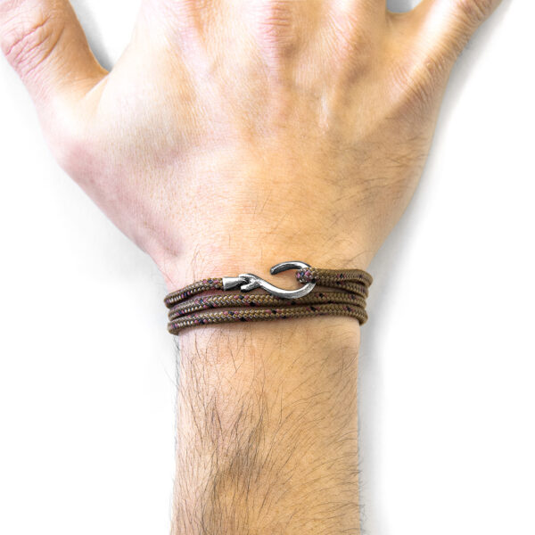 Brown Heysham Silver and Rope Bracelet