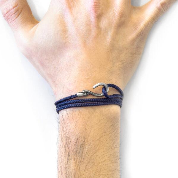Navy Blue Heysham Silver and Rope Bracelet