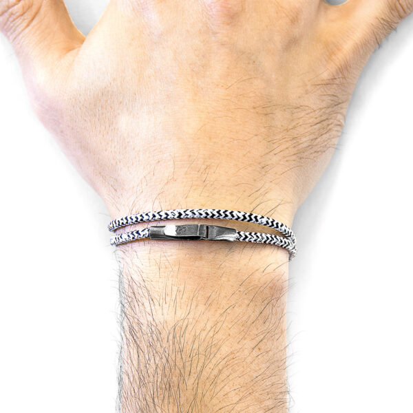 White Noir Liverpool Silver and Rope Bracelet