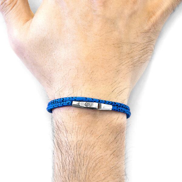Blue Noir Liverpool Silver and Rope Bracelet