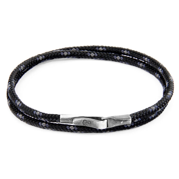 Black Liverpool Silver and Rope Bracelet