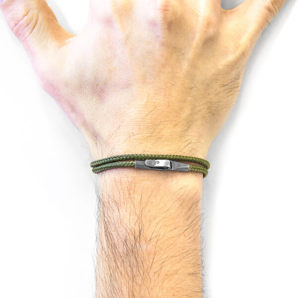 Khaki Green Liverpool Silver and Rope Bracelet
