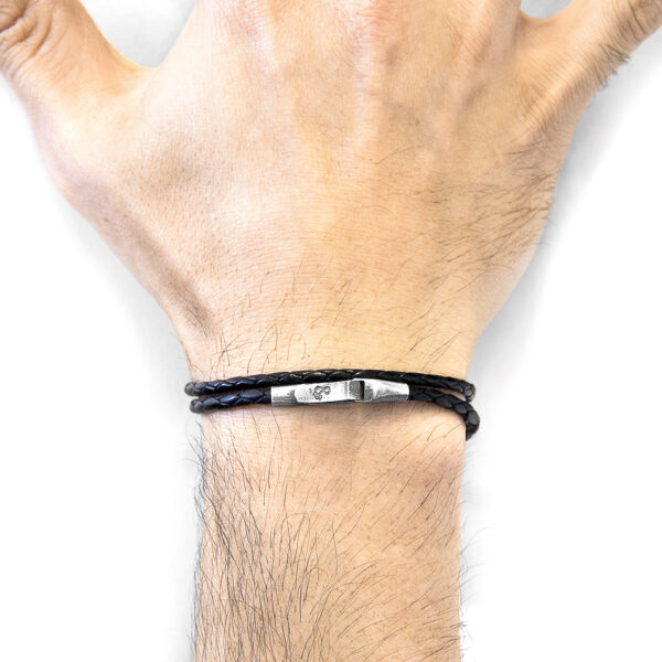 Coal Black Liverpool Silver and Braided Leather Bracelet