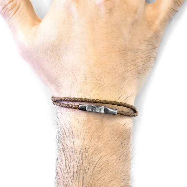 Light Brown Liverpool Silver and Braided Leather Bracelet
