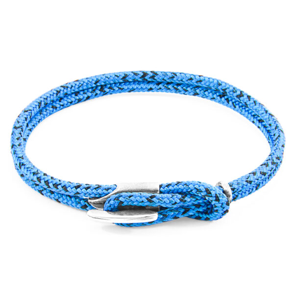 Blue Noir Padstow Silver and Rope Bracelet