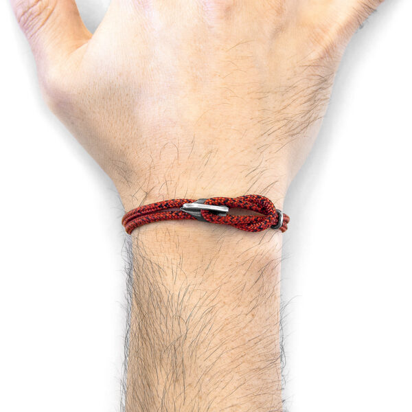 Red Noir Padstow Silver and Rope Bracelet