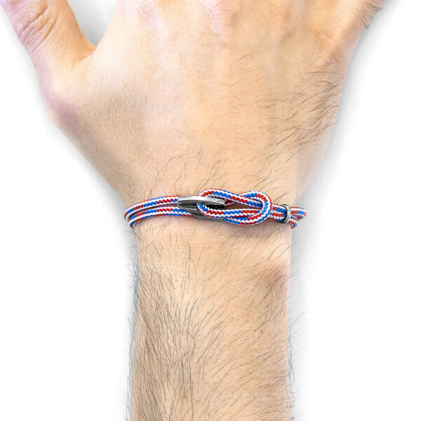 Project-RWB Red White and Blue Padstow Silver and Rope Bracelet