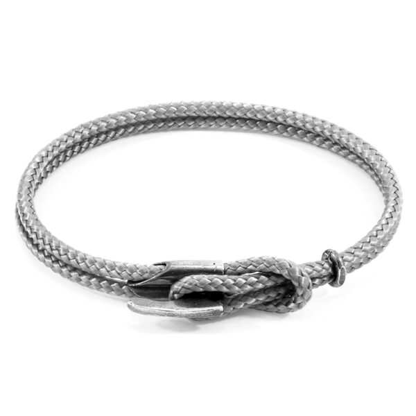 Classic Grey Padstow Silver and Rope Bracelet
