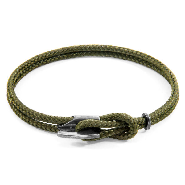 Khaki Green Padstow Silver and Rope Bracelet