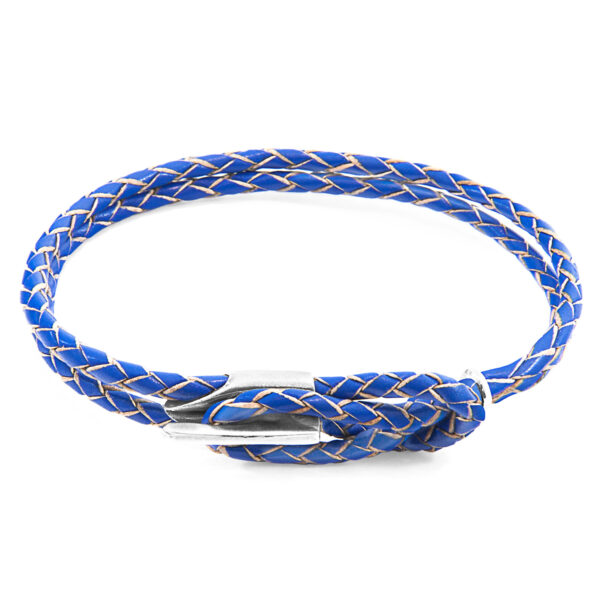 Royal Blue Padstow Silver and Braided Leather Bracelet