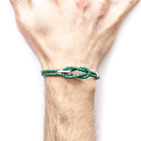 Fern Green Padstow Silver and Braided Leather Bracelet