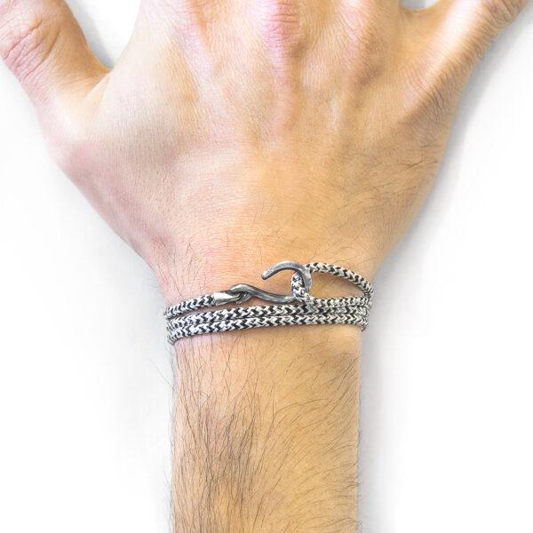 White Noir Heysham Silver and Rope Bracelet