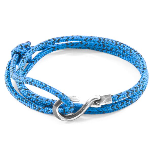 Blue Noir Heysham Silver and Rope Bracelet