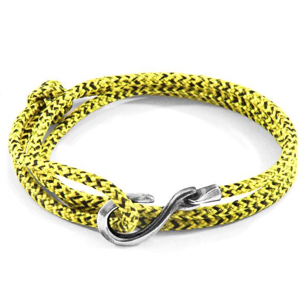 Yellow Noir Heysham Silver and Rope Bracelet