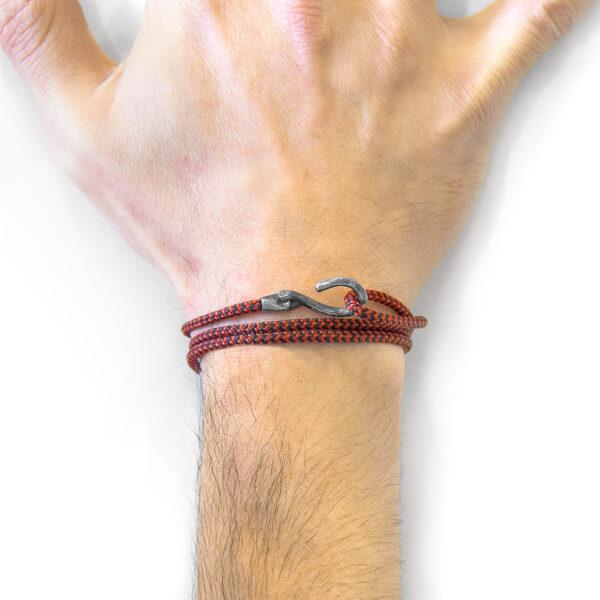 Red Noir Heysham Silver and Rope Bracelet