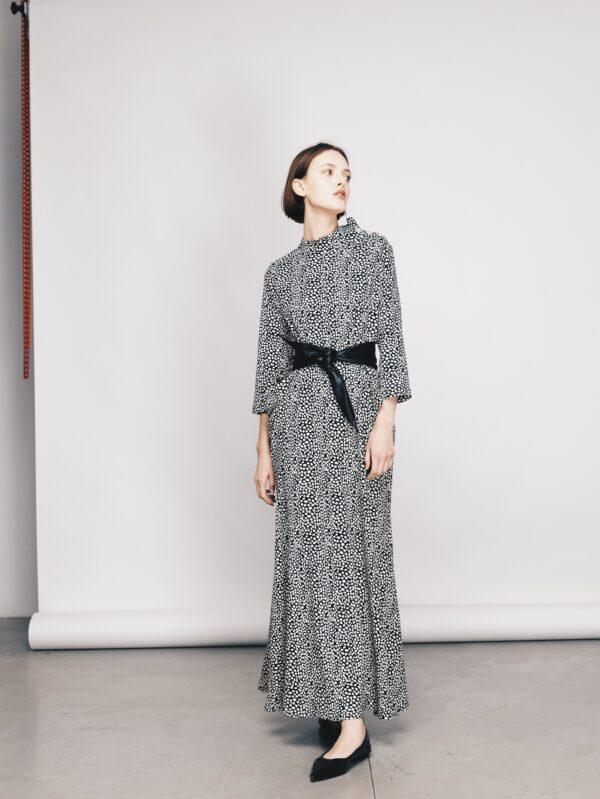 Polka Dot Maxi Long-Sleeve Dress With Belt