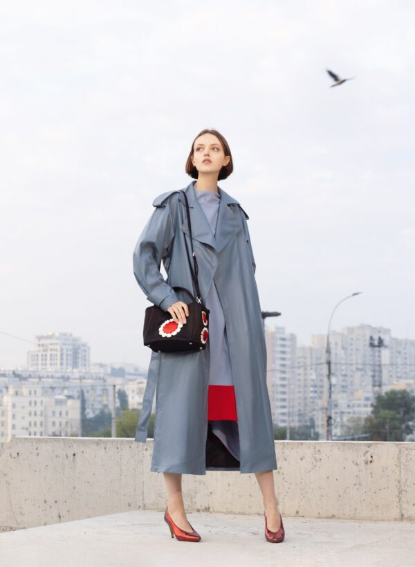 Loght Blue Faux Leather Midi Wrap Trench